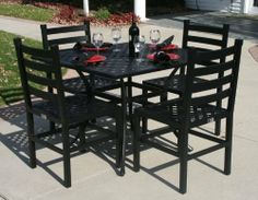 """The Ansley Collection 4-Person All Welded Cast Aluminum Patio Furniture Dining Set With 36"""" Square Table . $1045.80"""