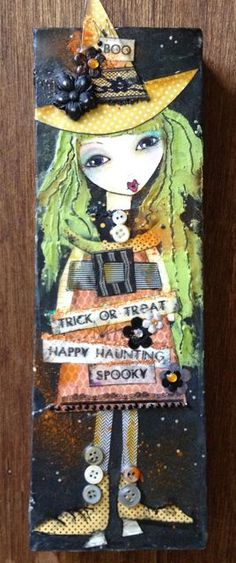 A little Witch craft for Halloween.  Mixed Media on canvas.
