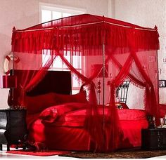 Red Princess Lace 4 Post Arched Bed Curtain Canopy Mosquito Net With Bracket | eBay