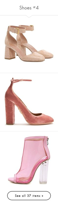 """Shoes #4"" by carlou863 on Polyvore featuring shoes, pumps, heels, skin color, leather pumps, square toe pumps, nude block heel shoes, block heel pumps, square heel pumps et pink"