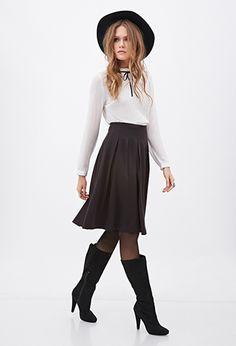 Knee-Length Pleated Skirt | Love21 - 2000122928