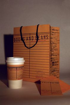 Packaging for Books and Beans, a used book and coffee shop.