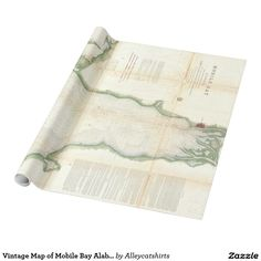 Vintage Map of Mobile Bay Alabama (1856) Wrapping Paper