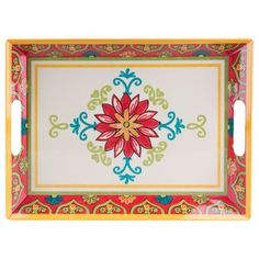 "Better Homes & Gardens 19"" x 14"" Melamine Serving Tray, Red Damask - Colors"