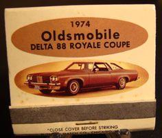 1974 Oldsmobile Delta 88 Royale Coupe Front Strike Full Matchbook Unused | eBay