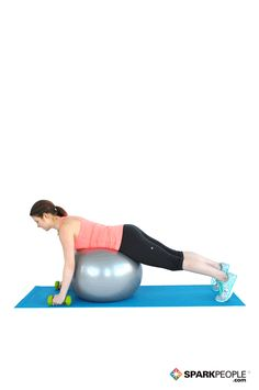 Lying Row and Rotation on Ball Exercise Demonstration via @SparkPeople