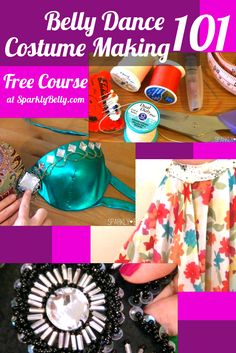 Get your FREE email course at Sparkly Belly - Belly Dance Costume Making 101! You learn everything from sewing tools to making a skirt to beading for free :)
