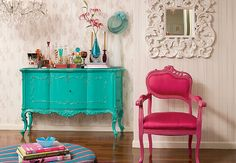 Will have a turquoise dresser/pink chair in one of my girls rooms. Bright Painted Furniture, Colorful Furniture, Pink Furniture, Turquoise Furniture, Vintage Furniture, Repurposed Furniture, Colorful Rooms, Victorian Furniture, Furniture Dolly