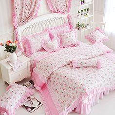 FADFAY Home Textil, Romantic Pink Rosa Prinzessin Bettwäsche, Elegante Korean, Mit Rüschen, Für Mädchen, Bettbezug, Luxuriöse Bettwäsche Marke Spitze, baumwolle, Queen