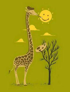 & Smiley& Funny Cartoon Giraffe Artist Painter & Sun Smiling - P. Giraffe Decor, Giraffe Art, Cute Giraffe, Giraffe Quotes, Funny Cartoons For Kids, Cartoon Kids, Cute Cartoon, Baby Animals, Cute Animals