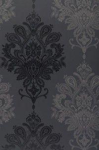 Papier peint baroque noir et gris / Black & grey baroque wallpaper (www.papierpeintdesannees70.com)