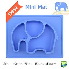 """Mini Silicone Kids Placemat,Baby Feeding Mat,Silivo 10""""x7.7""""x1"""" One Piece Placemat Fits Most Highchair Trays Elephant Design Dinnerware Super Self Suction Pad Non-slip Placemats Tableware (Blue)"""