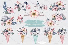 Floral icecream big watercolor set - Illustrations - 3