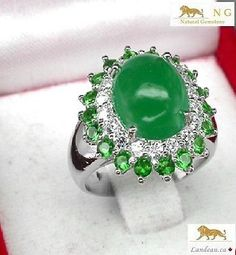 4.7 ct AAA GREEN AGATE RING - INT
