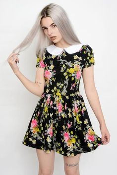 Floral Print Peter Pan Collar Flare Dress. Professionally sewn. So soft and light.