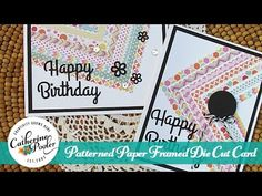 cardmaking video tutorial: Patterned Paper Framed Die Cut Card ... uses a paper pad and die cut frame ... great look ... similar to strip quilting but faster and much easier ...