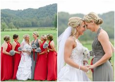 Kentucky wedding photographers, KM Russell Photography at www.kmrussellphotography.com.  Bridal party photos.  Bride and sister photos.  Red and silver wedding.  Red and gray wedding.  Kentucky wedding.