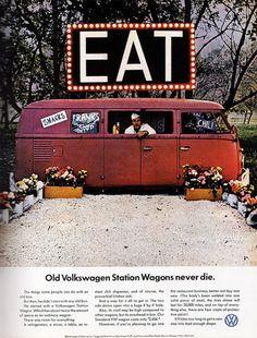 Food Truck... volkswagen... epic EAT sign Food Trucks, Kombi Food Truck, Volkswagen Transporter, Transporteur Volkswagen, Weird Vintage, Vw Vintage, Vintage Food, Vintage Trucks, Retro Food