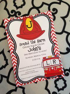 Fire truck invitation Firehat Invitation by TheSocialButterflyAR, $14.50
