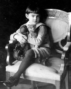 boy with Ted & monkey (believe this is Christopher Robin Milne)