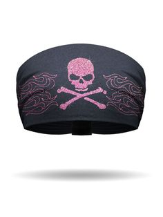 Pink Glitter Skull with Embroidered Metallic Flames Knotty Band™ - With   pink  glitter eaf757de311
