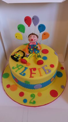 Mr tumble cake Second Birthday Cakes, Joint Birthday Parties, Boy Birthday, Birthday Ideas, Cbeebies Cake, Mr Tumble, Lily Cake, Paw Patrol Cake, Cake Craft