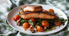 Salmon Saute with Spinach and Cherry Tomatoes
