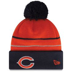 Chicago Bears New Era Two Stripe Cuffed Knit Hat - Navy - $18.99