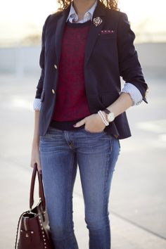 Jeans + Shirt + Sweater + Blazer with brouche