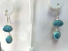 Larimar and Sterling Silver Dangle Earrings by TheSilverGardenHHI