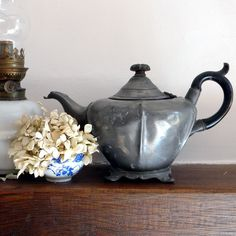 vintage teapots | Vintage Sheffield pewter teapot by lapomme on Etsy