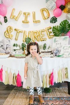 fun is this jungle theme Wild Three birthday party for a three year old! What a fun way to celebrate a third birthday! How fun is this jungle theme Wild Three birthday party for a three year old! What a fun way to celebrate a third birthday! Boho Birthday, 3rd Birthday Party For Girls, Jungle Theme Birthday, Girl Birthday Themes, Bday Girl, Birthday Ideas, Jungle Party, Jungle Jungle, Paris Birthday
