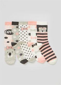 Girls 5 Pack Koala Printed Socks (Younger Kids 6 - Older Kids 6.5)