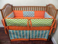 Custom Baby Bedding Set Carson   Orange with by BabyBeddingbyJBD, $265.00