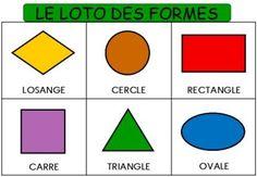 Voici le loto des formes géométriques et des couleurs à imprimer, adapté à des élèves de maternelle grande section (ovale, losange, rond, carré, triangle et rectangle)