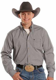 Panhandle Slim Tuf Cooper Long Sleeve Dobby Dot Button Down Western Shirt - Grey