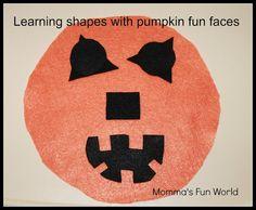Momma's Fun World: Teaching shapes while making fun pumpkin faces