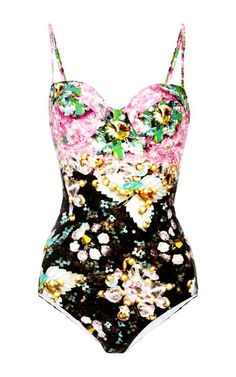 Shop Pinkimon Printed One-Piece Swimsuit. Mary Karatzou shifts her gaze to swimwear, applying her mastery of print to a one-piece that shimmers with a vibrating prism of flowers and beadwork. Belle Lingerie, Summer Suits, Summer Wear, One Piece Swimwear, One Piece Swimsuit, Floral Swimsuit, Bikinis, Swimsuits, Bathing Beauties