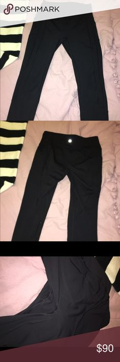 Lululemon All The Right Places Crop ll Worn and washed once to realize I got the wrong size and it's too late to return. Perfect condition no pilling or wear. So upset because I love these, but they're just a size big on me. They have pockets on both legs. Size 10 black. lululemon athletica Pants Leggings