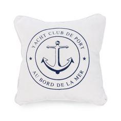 White cushion with navy blue anchor Style Nautique, Deco Marine, Striped Cushions, Navy And White, Navy Blue, Nautical Fashion, Yacht Club, Pink Flamingos, Nautical Theme