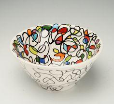 Etsy Transaction - Retro Mod Serving Bowl Color Block Hand Painted Kitchen Dinnerware