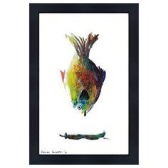 Catchii Abbildung, einschließlich Rahmen, mit ursprünglich handgemalten Illustration Fische farbig