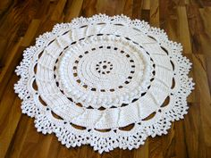 Doily rug ~ *free* pattern by danceswithwools, aka Trish.  45 inches across; 9 skeins Lion's Brand Hometown USA chunky yarn; hook size N   . . . .   ღTrish W ~ http://www.pinterest.com/trishw/  . . . .    #crochet #circle