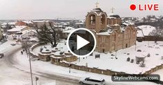 Lovely view of the snowy main church of #Ub in #Serbia. Live webam >