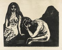"dappledwithshadow: "" Edvard Munch Man and Woman 1899 X 20 in X cm) woodcut "" Edvard Munch, Most Famous Artists, Dark Drawings, Art Inspo, Printmaking, Illustration Art, Fine Art, Prints, Woman"