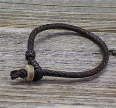Braided Leather Bracelet with Deer Antler Button
