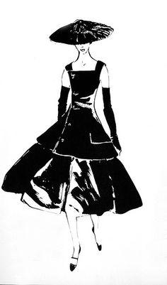Vintage Fashions  Dior A-line by Rene Gruau, 1955