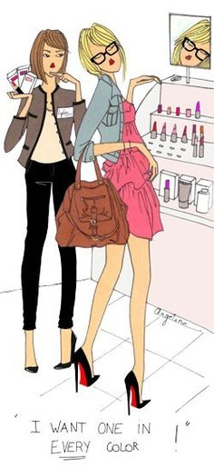 girls shopping fashion-illustration