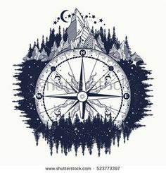 Mountain antique compass and wind rose tattoo art. Adventure, travel, outdoors, … Mountain antique compass and wind rose tattoo art. Rose Tattoos, Body Art Tattoos, New Tattoos, Sleeve Tattoos, Tatoos, Tatoo Art, Tattoo Drawings, Wind Tattoo, River Tattoo