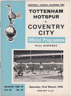 Vintage Football (soccer) Programme - Tottenham Hotspur v Coventry City, 1969/70 season #football #soccer #tottenham #spurs #coventry #1970s